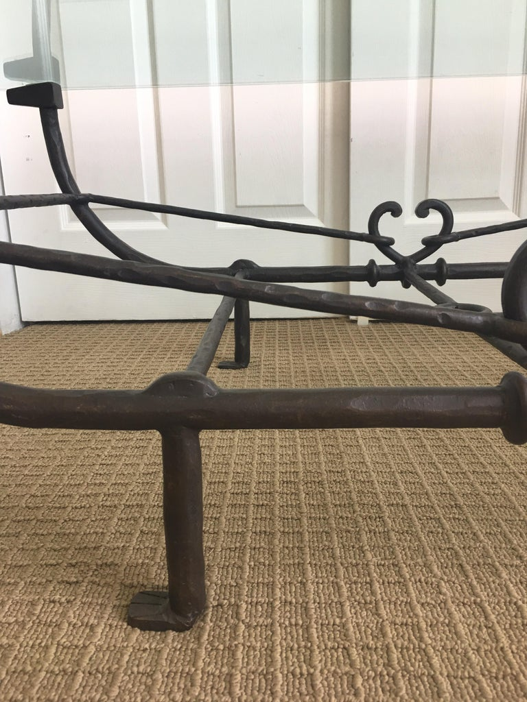 Giacometti Style Iron and Glass Coffee Table, Sculptural Animal Head and Leg For Sale 5