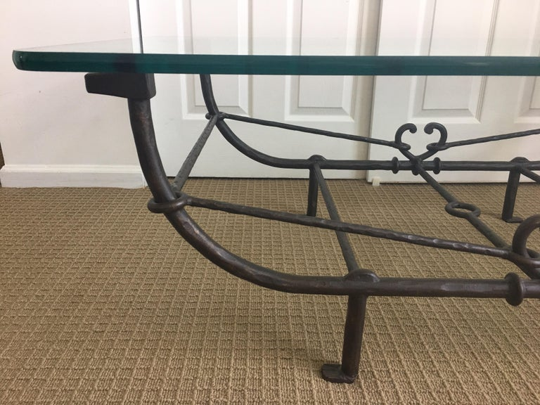 Giacometti Style Iron and Glass Coffee Table, Sculptural Animal Head and Leg For Sale 6