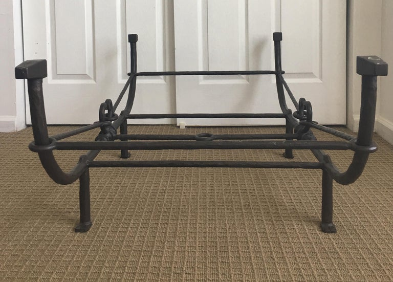 Giacometti Style Iron and Glass Coffee Table, Sculptural Animal Head and Leg For Sale 7