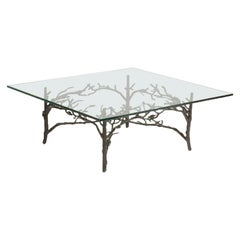 Giacometti Style Iron with Glass Top Coffee Table, circa 1960