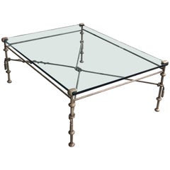 Giacometti Style Metal and Glass Coffee Cocktail Table with Tassels and Snake