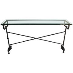 Giacometti Style Bronze Console with Glass Top