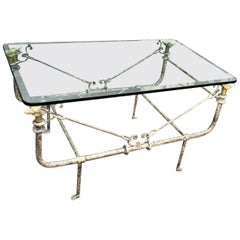 Giacometti Style Paul Ferrante Wrought Iron Hound Head Cocktail Table