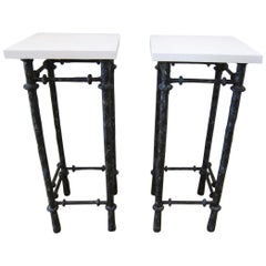 Giacometti Style Pedestal Stands Pair, USA 1980