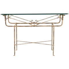 Giacometti Style Wrought Iron Console Table by Paul Ferrante, 1980s