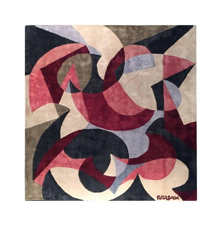 """Giacomo Balla """"Motivo con la parola TAC"""" Silk Carpet, Italy, 1929 For Sale"""