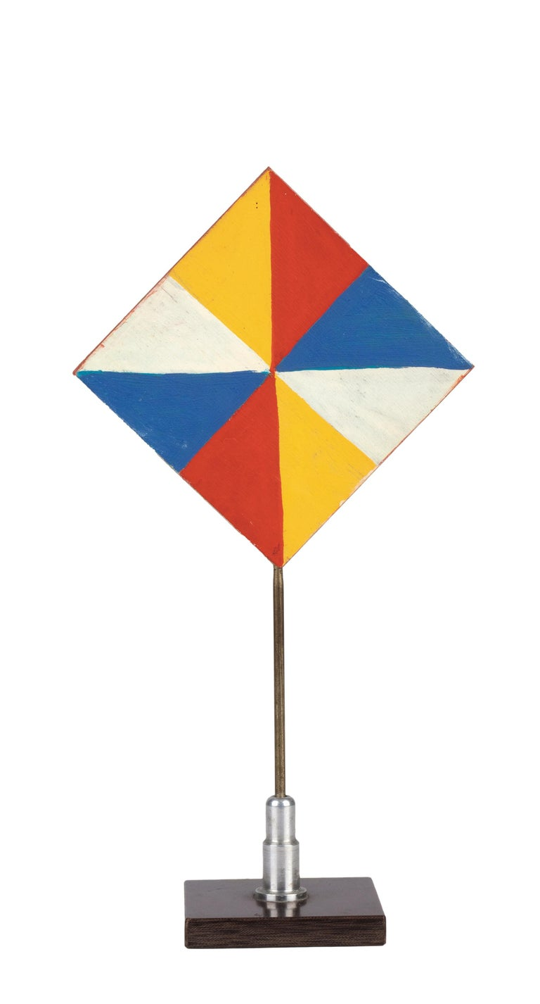 Colorful Triangles - Temperas on Wood by Giacomo Balla - 1930s For Sale 1