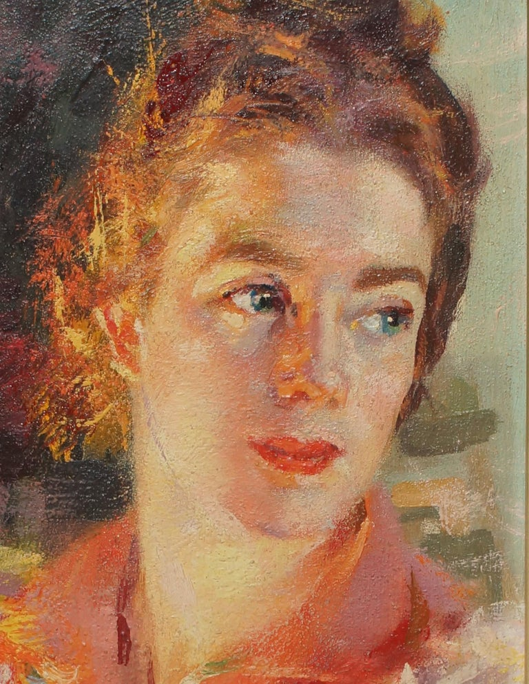 Contrast of Lights - Portrait of Elica Balla - Oil on Panel by G. Balla - 1941 - Painting by Giacomo Balla