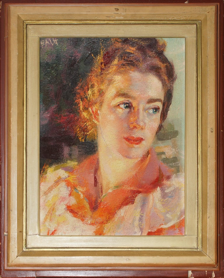 Contrast of Lights - Portrait of Elica Balla - Oil on Panel by G. Balla - 1941 - Brown Portrait Painting by Giacomo Balla