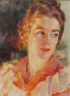 Contrast of Lights - Portrait of Elica Balla - Oil on Panel by G. Balla - 1941