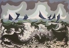 Linee Forze Di Mare - Original Serigraph by Giacomo Balla - 1920