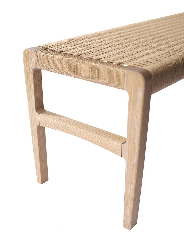 Mid-Century Modern Giacomo Bench, Cerused Oak with Handwoven Danish Cord For Sale