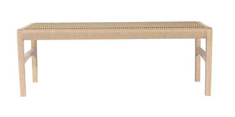 Woven Giacomo Bench, Cerused Oak with Handwoven Danish Cord For Sale