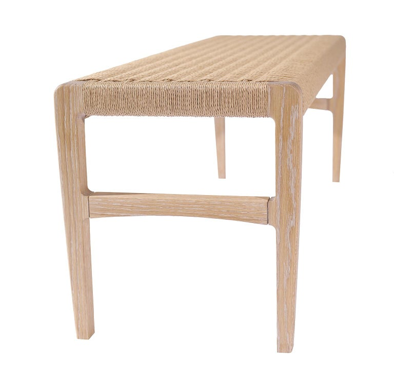 Giacomo Bench, Cerused Oak with Handwoven Danish Cord In New Condition For Sale In Brooklyn, NY