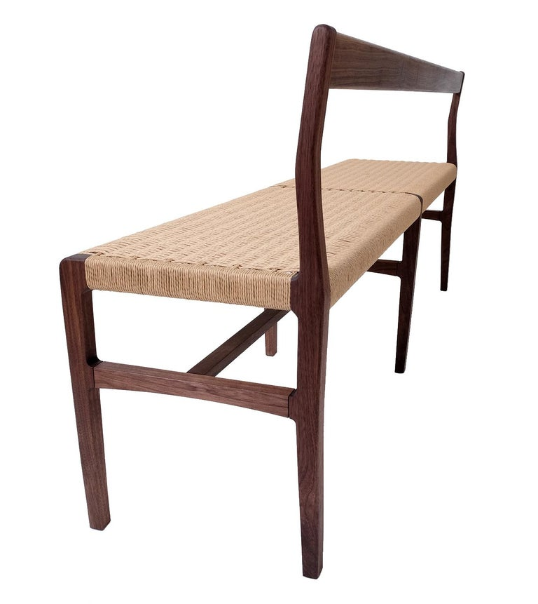 Mid-Century Modern Giacomo Bench with Back, extra-long in Walnut with Danish Cord Seat For Sale