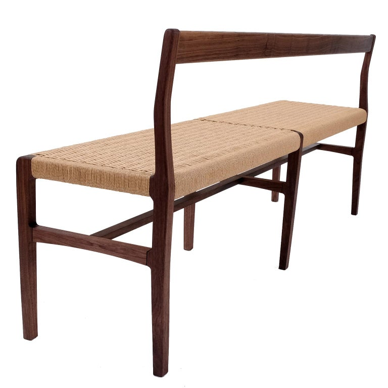 American Giacomo Bench with Back, extra-long in Walnut with Danish Cord Seat For Sale