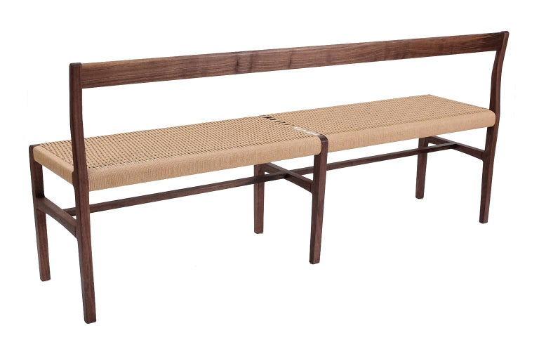 Oiled Giacomo Bench with Back, extra-long in Walnut with Danish Cord Seat For Sale