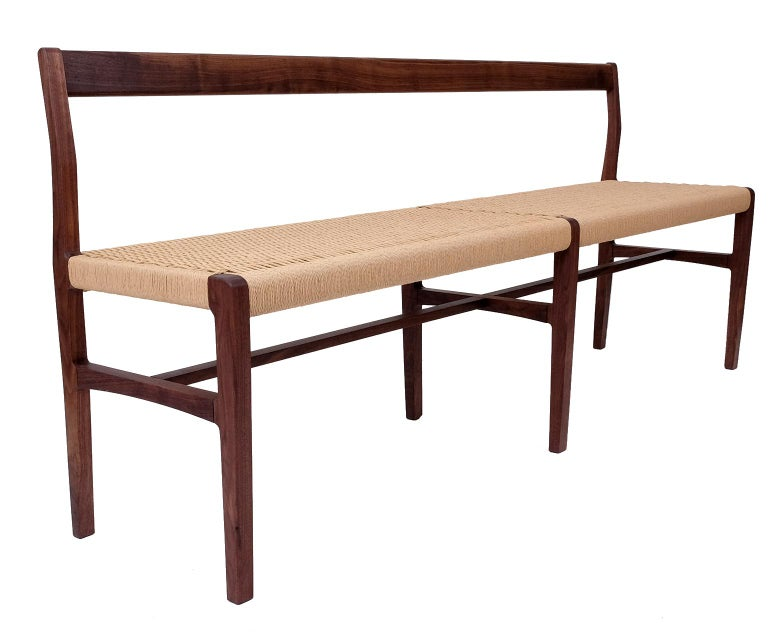 Contemporary Giacomo Bench with Back, extra-long in Walnut with Danish Cord Seat For Sale