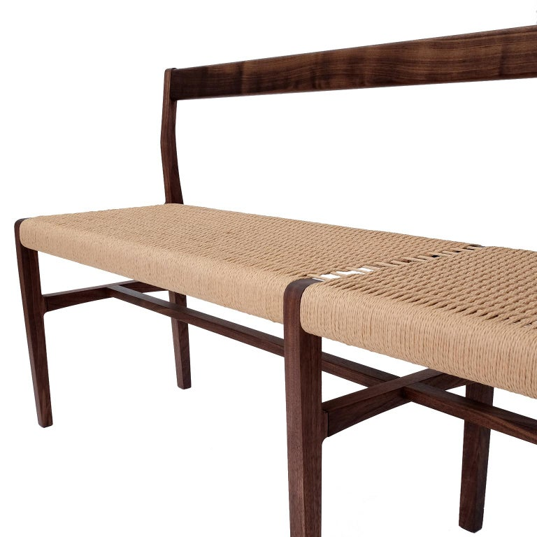 Papercord Giacomo Bench with Back, extra-long in Walnut with Danish Cord Seat For Sale
