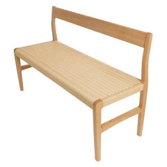 Giacomo Bench with Back, Solid White Oak with Handwoven Danish Cord Seat