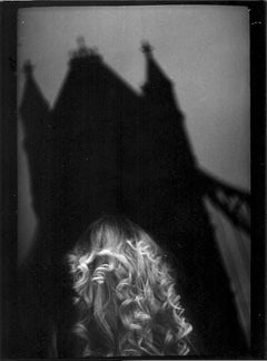 Untitled #10 (Woman Tower Bridge) from Eternal London - Black and White Photo