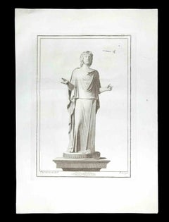 Ancient Roman Statue - Etching by Giacomo Casanova - 18th Century