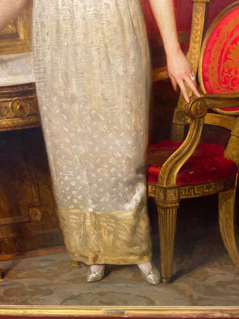 Important Italian Painting The Countess Gallo By Giacomo Grosso 1918 For Sale 7
