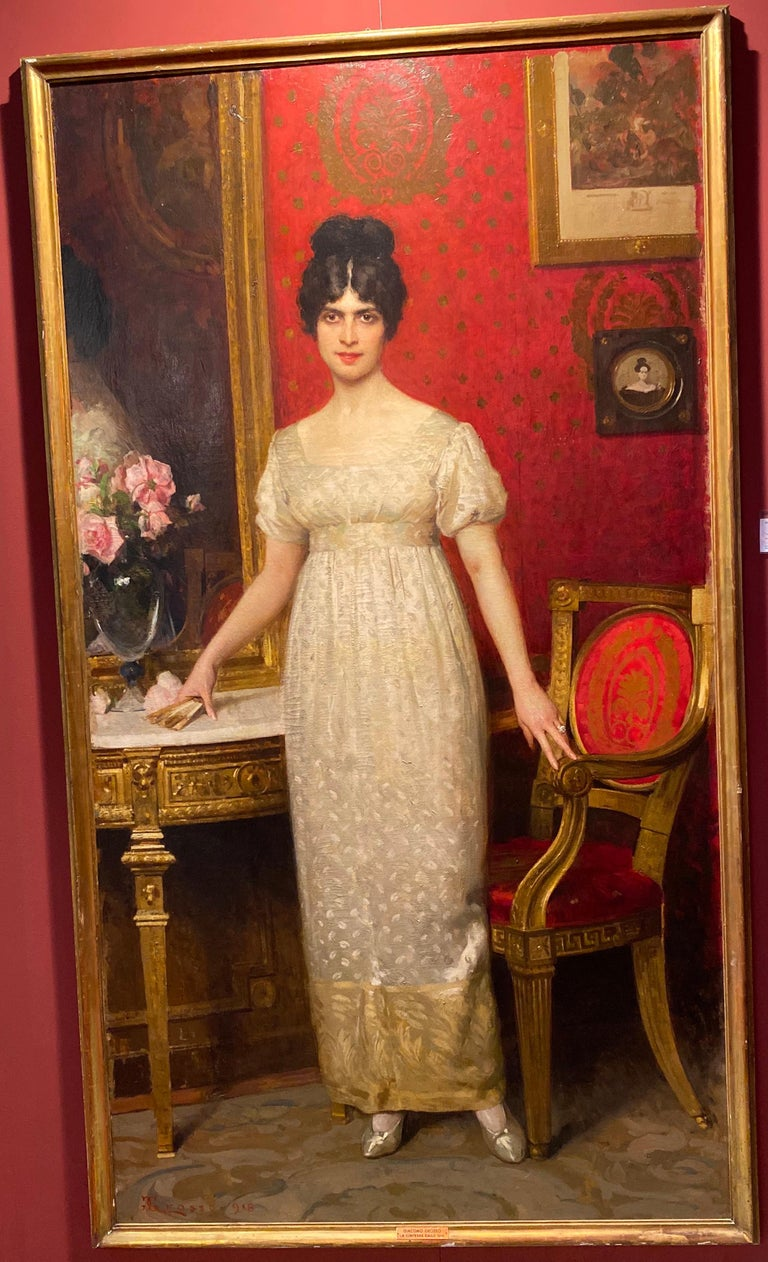 Fabulous Italian Painting signed  By Giacomo Grosso 1918. Depicting Countess Gallo,  aristocratic beauty of the Italian