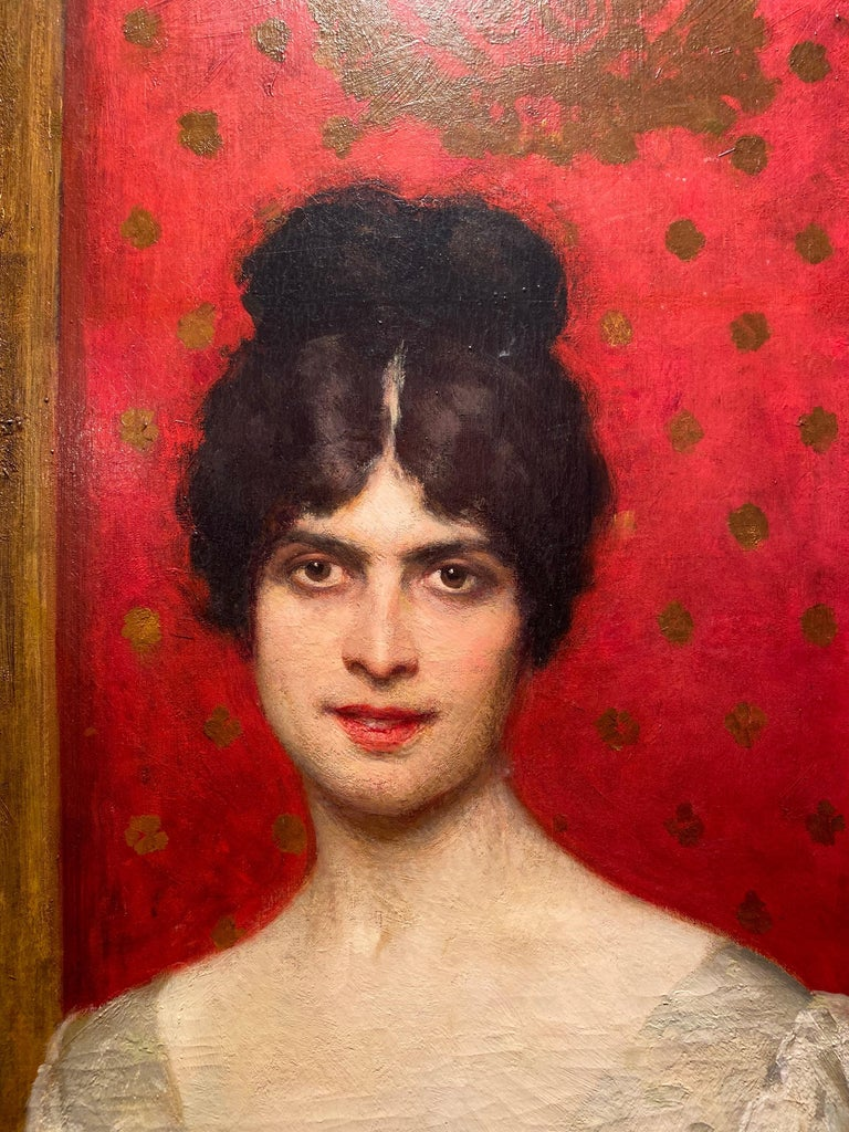 Important Italian Painting The Countess Gallo By Giacomo Grosso 1918 For Sale 8