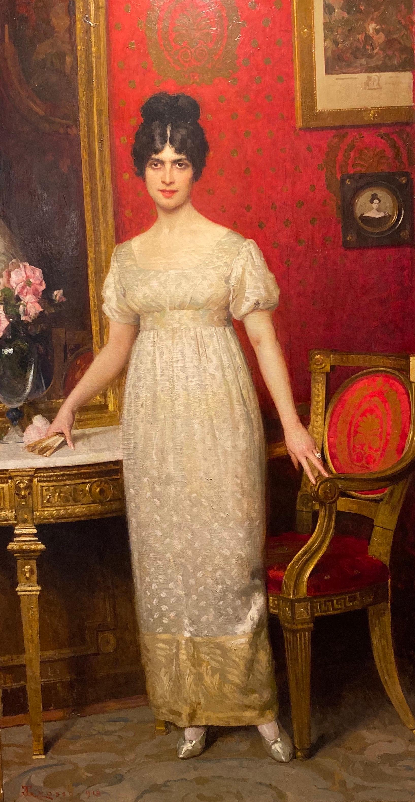Important Italian Painting The Countess Gallo By Giacomo Grosso 1918