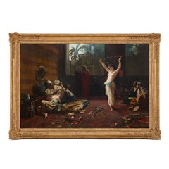 'An idle evening in the seraglio', antique Orientalist painting