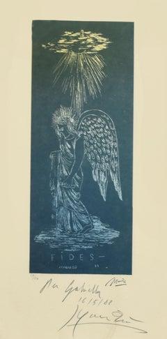 Angelo Fides 33 - Original Lithograph by Giacomo Manzù - 1988