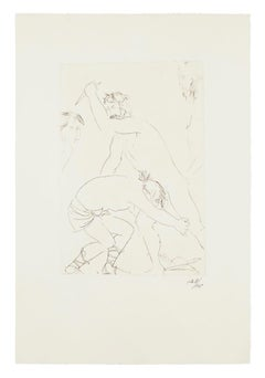 King Oedipus' Fight - Original Etching by Giacomo Manzù - 1968