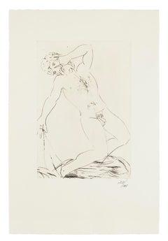 Oedipus Becoming Blind  - Original Etching by Giacomo Manzù - 1968
