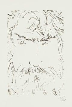 Portrait of Oedipus - Original Etching by Giacomo Manzù - 1968