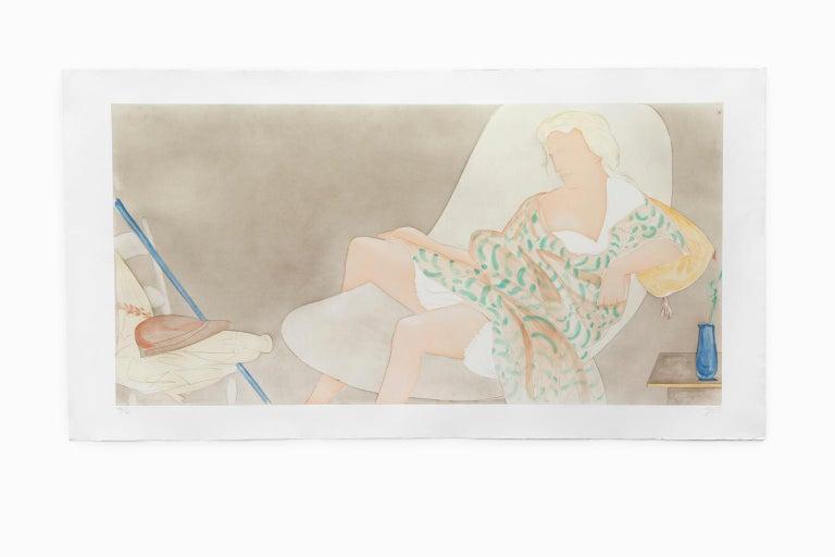 "Giacomo Manzú Figurative Print - ""Ragazza Ditesta II (Lying Girl II)"" Monumental Aquatint Lithograph"