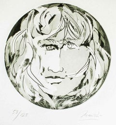 Round Medusa - Original Etching by Giacomo Manzù - 1970