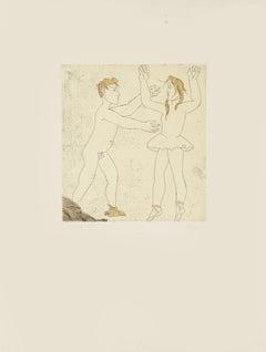 Step of Dance I - Original Etching by Giacomo Manzù - 1970s