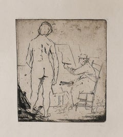 The Painter and the Model  - Original Etching by Giacomo Manzù - 1930s
