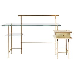 Giacomo Moor Contemporary Desk Palafitte Collection in Bamboo Glass and Brass