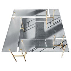 Giacomo Moor Contemporary Table Palafitte Collection in Bamboo Glass and Brass