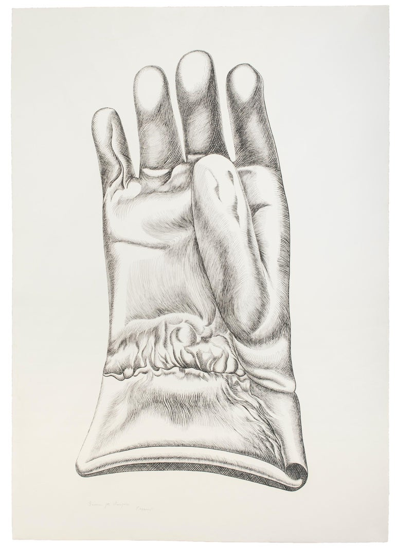 "Black and White Glove - Guanto Bianco e Nero is a beautiful etching on paper, realized in 1972 by the Italian artist Giacomo Porzano (1925-2006).  This is a superb artist's proof, as the pencil inscriptions report on the lower margin: ""Buona per la"