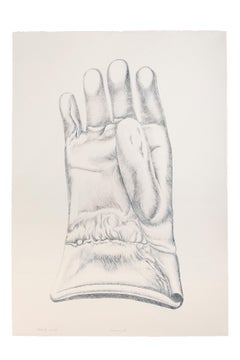 Blue Glove - Original Etching by Giacomo Porzano - 1972