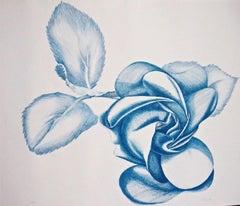 Blue Rose - Original Etching by Giacomo Porzano - 1970