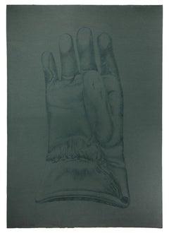 Glove - Original Etching on Cardboard by Giacomo Porzano - 1972