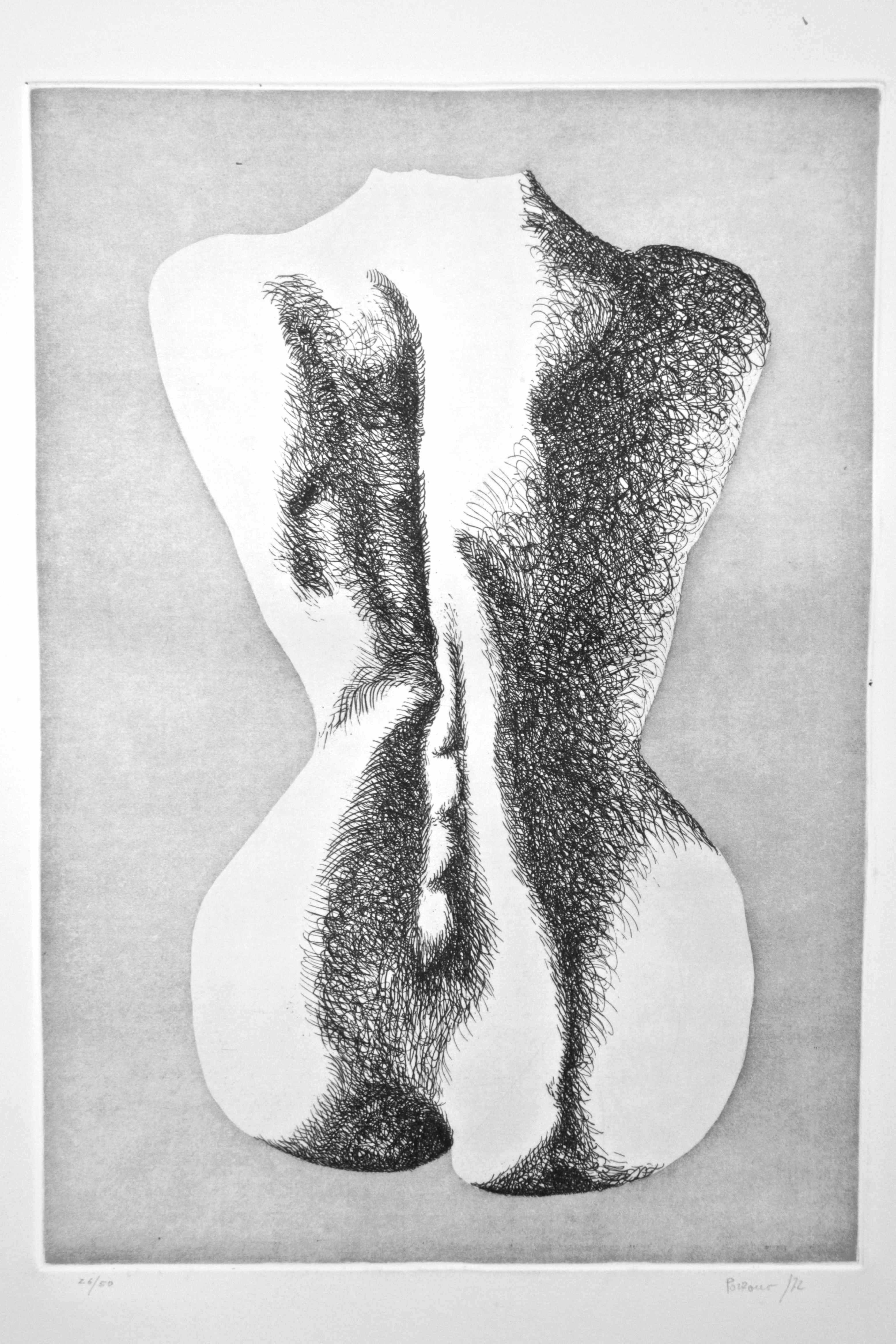 Nude from the Back - Original Etching by Giacomo Porzano - 1972