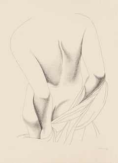 Nude from the Back - Original Etching by Giacomo Porzano - 1975