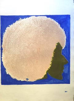 Profile in Pink and Blue - Original Etching by Giacomo Porzano - 1972
