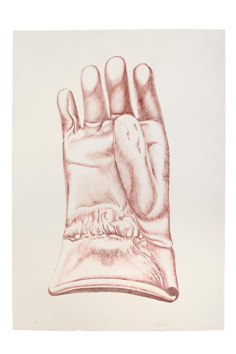 Red glove - Guanto rosso is a beautiful burnt Sienna color etching on paper, realized in 1972 by the Italian artist Giacomo Porzano (1925-2006).  Hand-signed, dated and numbered by the artist in pencil.  Edition of 4 prints.  In excellent