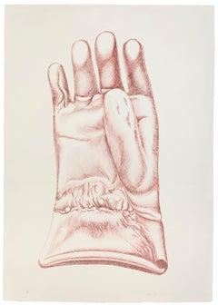 Red Glove - Original Etching by Giacomo Porzano - 1972